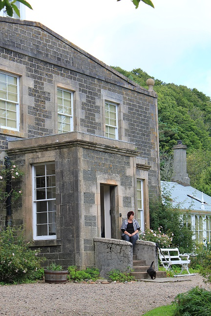 Fiona on steps of Canna House